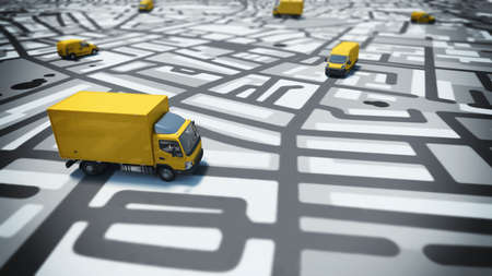 Photo pour Image of map of streets with trucks - image libre de droit