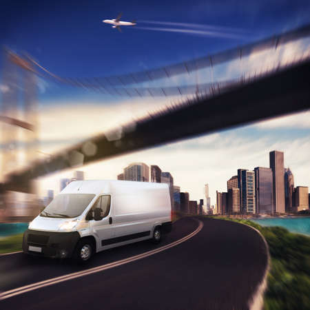 Photo for Truck on background with aircraft and bridge - Royalty Free Image