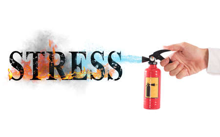 Extinguisher off with water the word stress