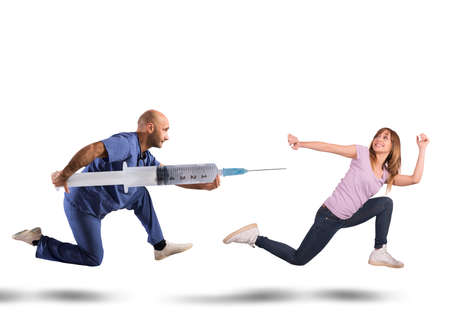Doctor with big syringe chases a woman