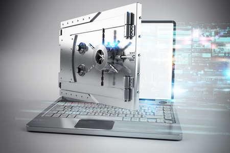 Photo pour 3d Laptop with the screen as a safe - image libre de droit