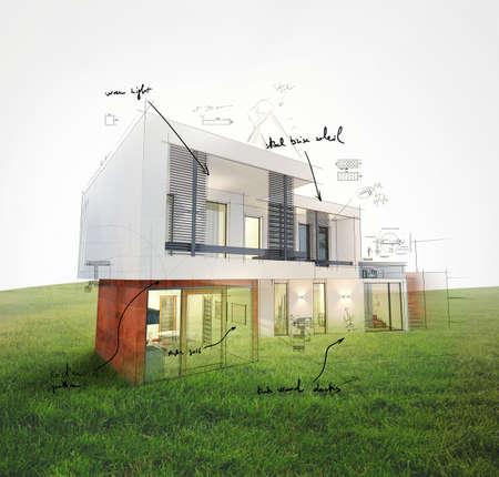 Photo pour Project of a house on a lawn 3d rendering - image libre de droit