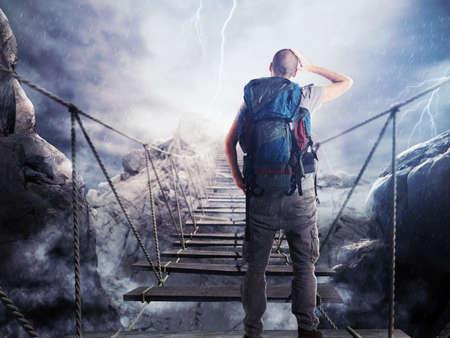3D Rendering of explorer walks over a crumbling bridge