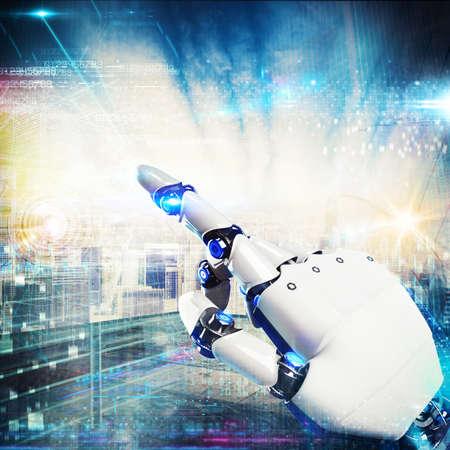 Photo pour 3D Rendering finger of a robot touches a virtual screen - image libre de droit