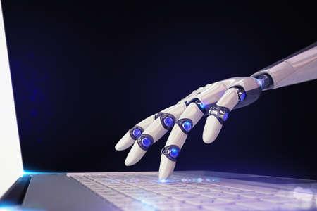 Photo pour 3D Rendering finger of a robot touches a laptop keyboard - image libre de droit