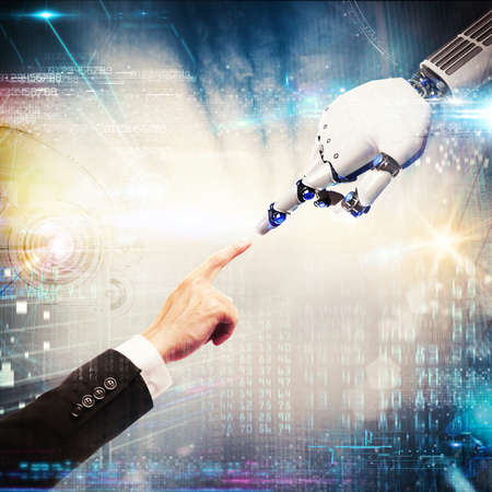 Photo pour 3D Rendering finger of man touches the finger of a robot - image libre de droit