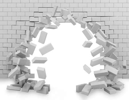 Background of a brick wall broken through 3d rendering