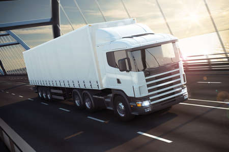 Photo pour 3D Rendering white truck on a sea bridge - image libre de droit