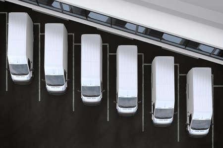 Photo pour 3D Rendering trucks parked in front of a warehouse - image libre de droit