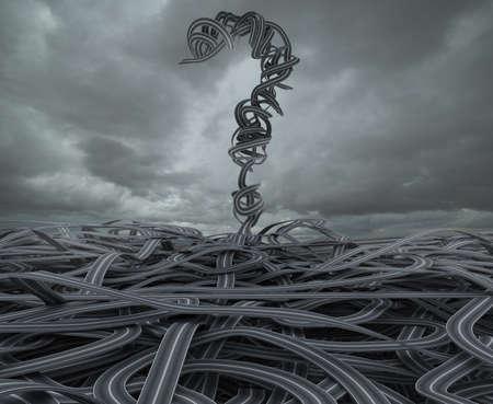 Photo pour 3D Rendering skein of roads with big question mark - image libre de droit