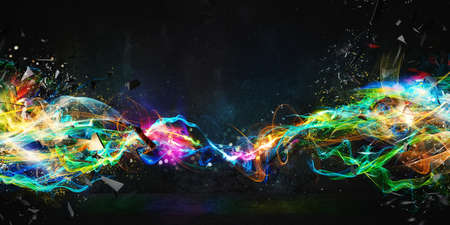 Foto de Modern abstract colourful light motion banner on dark background - Imagen libre de derechos