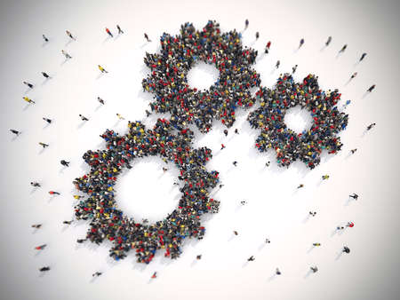3D Rendering of people united form two gears