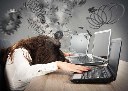 Photo pour Stress concept with overworked businesswoman and gear explosion - image libre de droit
