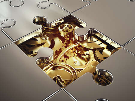 3D Rendering of System of golden gear covered by a puzzle. concept of cooperation between systems