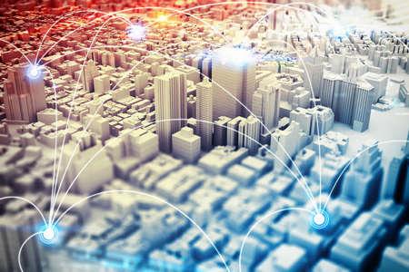 Photo pour Background of a cityscape with futuristic designs . 3D Rendering - image libre de droit