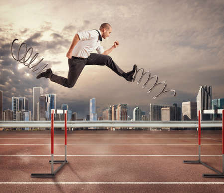 Businessman running fast with the big springs during a race with obstacles. 3D Rendering . 3D Rendering
