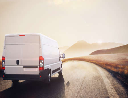 Truck on road in a natural landscape . 3D Rendering