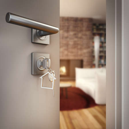 3D Rendering Open door with key on the living room of a house