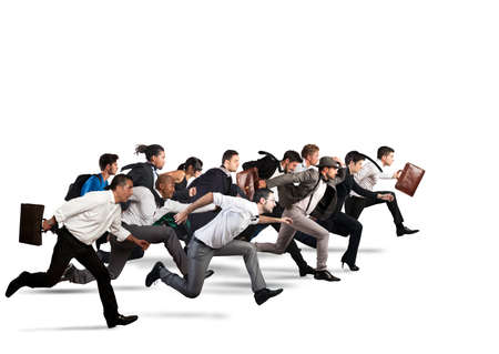 Foto de Business people run together in the same direction - Imagen libre de derechos