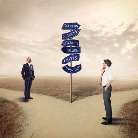 Business people follows the directional arrows. Find the road to business success