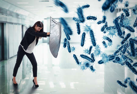 3D Rendering. woman protects with the shield by an attack of bacteria
