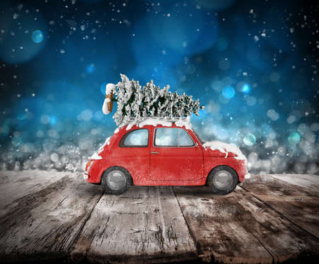 Christmas tree on the roof of a car on wooden floor. Xmas holiday travel concept. 3D rendering
