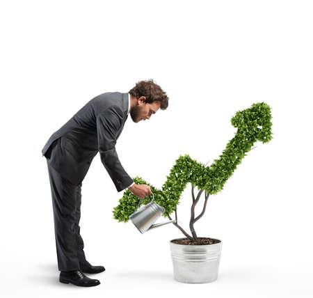 Photo pour Growing the economy company with 3D Rendering - image libre de droit