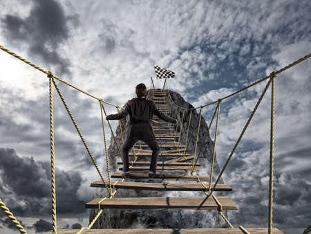Reach the success with difficult. Achievement business goal and Difficult career concept