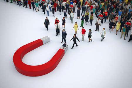 Foto de Magnet attracts people from a pile. 3D rendering - Imagen libre de derechos