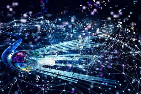 Photo pour Image of optical fibers with digital effects. Concept of fast internet.3d render - image libre de droit