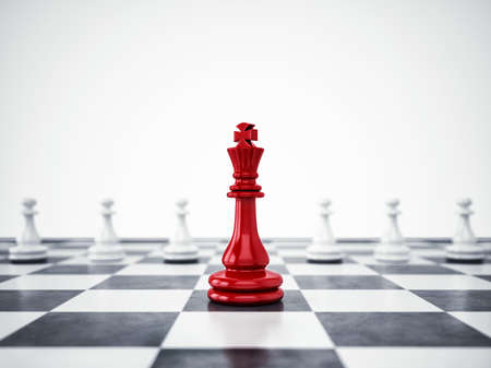 Photo pour Red pawn ahead of white pawns. 3D Rendering - image libre de droit