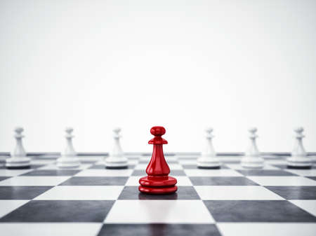 Photo for Red pawn ahead of white pawns. 3D Rendering - Royalty Free Image