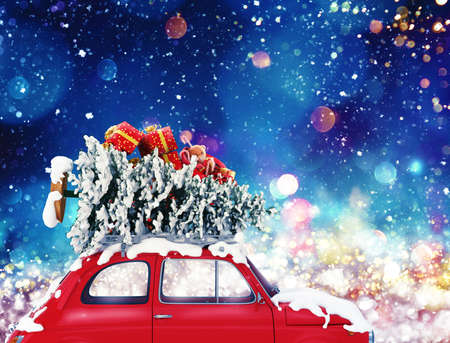 Photo pour Vintage car with Christmas tree and presents with night light effect. 3d rendering - image libre de droit