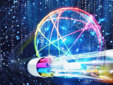 Photo pour Image of an optical fiber with lights effects. 3D Rendering - image libre de droit