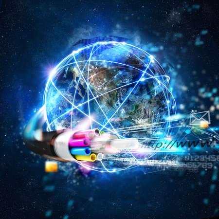 Photo pour Fast internet worldwide connection with the optical fiber - image libre de droit