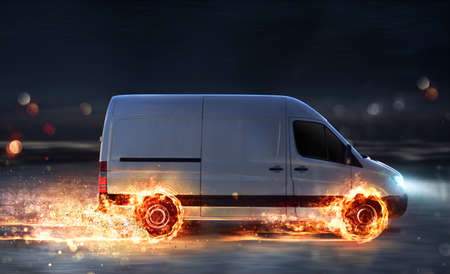 Photo for Super fast delivery of package service with van with wheels on fire - Royalty Free Image