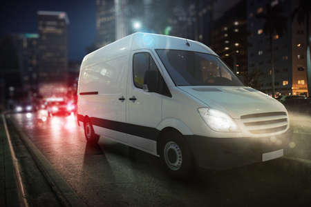 Photo for Fast van on a city road delivering at night. 3D Rendering - Royalty Free Image
