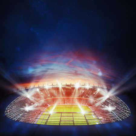 Photo pour Top view of a soccer stadium at night with the lights on. 3D Rendering - image libre de droit