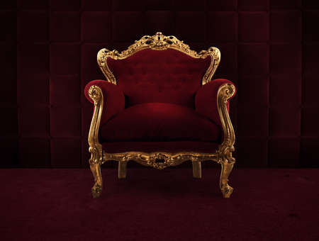 Photo pour Red and gold luxury armchair into an old room - image libre de droit