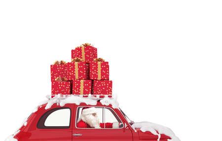 Foto de Santa Claus on a red car full of Christmas present drives to deliver - Imagen libre de derechos