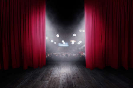 Photo pour The red curtains are opening for the theater show - image libre de droit
