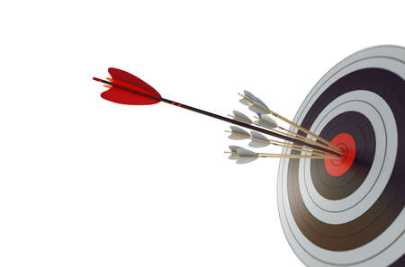 Arrow hit the center of target. Business target achievement concept.