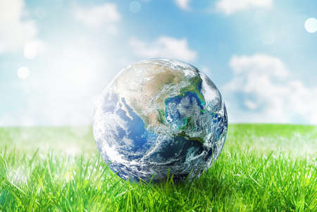 Photo for Earth globe in a green pristine field. - Royalty Free Image