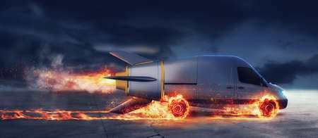 Photo for Super fast delivery of package service with van like a rocket with wheels on fire - Royalty Free Image