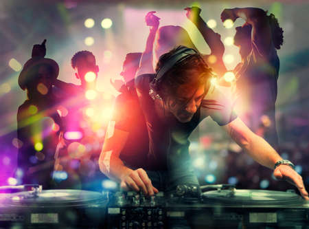 Photo pour DJ playing music at the discotheque. Double exposure - image libre de droit