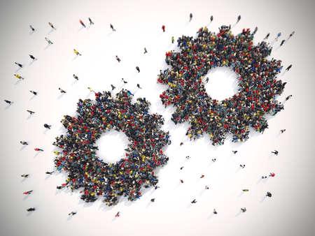 Photo pour 3D Rendering of people united form two gears. Teamwork system concept - image libre de droit