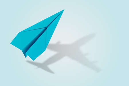 Ambition and target concept with paper plane. 3d rendering