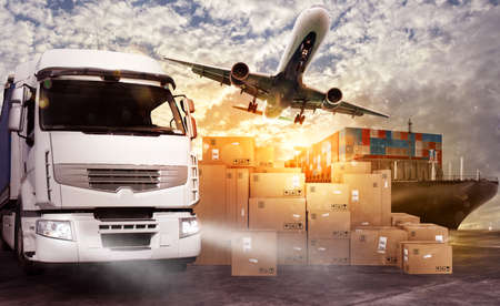 Photo pour Truck, aircraft and cargo ship ready to start to deliver - image libre de droit