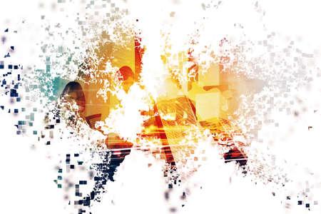 Photo pour Abstract world with businessperson. Concept of global internet. Double exposure - image libre de droit