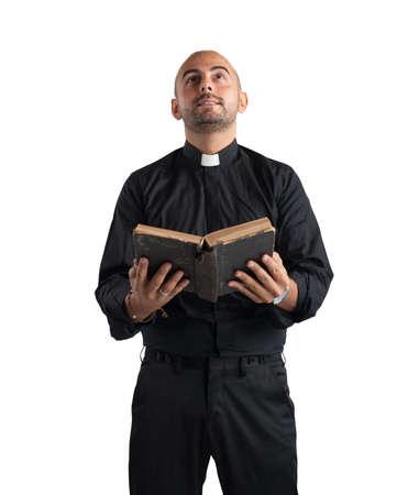 Photo pour Priest praying - image libre de droit